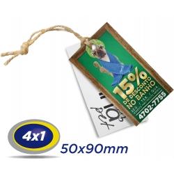 500 TAGs 5x9cm COUCHE 300g 4x1 cor -UV Total Frente com furo de 3 ou 5mm - Produção 3 dias