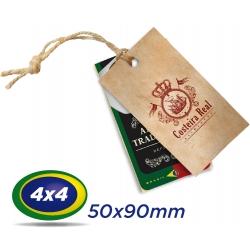 1000 TAGs 5x9cm COUCHE 300g 4x4 cor -UV Total Frente com furo de 3 ou 5mm - Produção 3 dias
