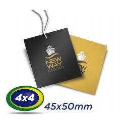 1000 TAGs 4,5 x 5cm COUCHE 300g 4x4 cor -UV Total Frente com furo de 3 ou 5mm - Produção 3 dias