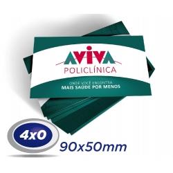 500 Cartões de Visita 9x5cm Couche 230g 4x0 cor Verniz UV Frente Produção 2 dias úteis