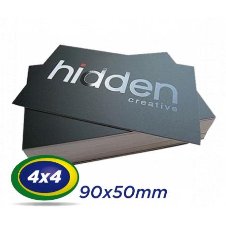 500 Cartões de Visita 9x5cm Couche 300g 4x4 cor Laminação Fosca - UV Localizado - Produção 3 dias úteis
