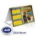 500 Calendários de Mesa 14x25cm SUPREMO 300g com Verniz UV total Frente - 4x0 cor Produção 3 dias úteis