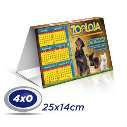 1000 Calendários de Mesa 14x25cm SUPREMO 300g com Verniz UV total Frente - 4x0 cor Produção 3 dias úteis