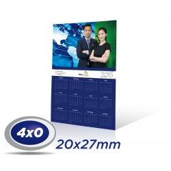 1000 Calendários de Parede 20 x 27cm COUCHE 300g UV Total Frente com furo - 4x0 cor Produção 3 dias