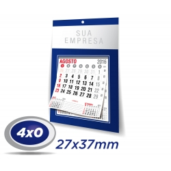 100 Folhinhas Comerciais 27 x 37cm DUPLEX 300g UV Total Frente com furo - 4x0 cor + Bloco 12 meses - Produção 5 dias úteis
