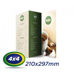 25 Cardápios 21x29,7cm Couche 300g 4x4 cor - Laminação Fosca - 2 VINCOS - Produção 4 dias