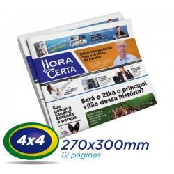 5.000 Tablóides 27x30cm 12 Pág. Papel JORNAL 49g 4x4 cor 1 Dobra -S/ Grampo- Produção 1 dia