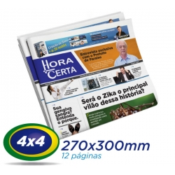 10.000 Tablóides 27x30cm 12 Pág. Papel JORNAL 49g 4x4 cor 1 Dobra- S/ Grampo- - Produção 1 dia