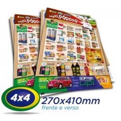 30.000 Panfletos 27x41cm Papel LWC 60g 4x4 - Produção 1 dia