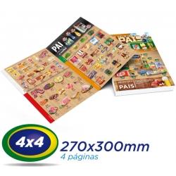 5.000 Tablóides 27x30cm 4 Pág. Papel LWC 60g 4x4 cor 1 Dobra - Produção 2 dias