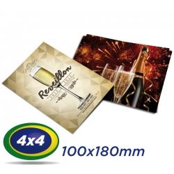 500 Postais 10x18cm Couche 250g 4x4 cor Verniz UV Total Frente - Produção 2 dias