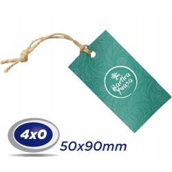 500 TAGs 5x9cm COUCHE 300g 4x0 cor -UV Total Frente com furo de 3 ou 5mm - Produção 3 dias