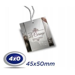 1000 TAGs 4,5 x 5cm COUCHE 300g 4x0 cor -UV Total Frente com furo de 3 ou 5mm - Produção 3 dias