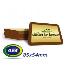 100 Cartões PVC 0,76 mm  - Formato 8,5 x 5,4 cm -  Verniz Cristal Frente e Verso 4x4 cores - Cantos arredondados