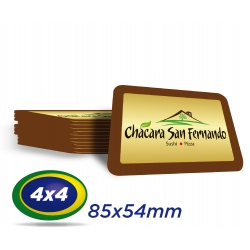 500 Cartões PVC 0,76 mm  - Formato 8,5 x 5,4 cm -  Verniz Cristal Frente e Verso 4x4 cores - Cantos arredondados