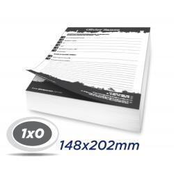 10 Blocos 14,8x20,2cm Sulfite 63g 100x1 via 1x0 cor impressão preto - Produção 2 dias