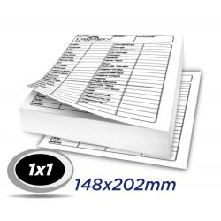 10 Blocos 14,8x20,2cm Sulfite 63g 100x1 via 1x1 cor impressão preto - Produção 2 dias