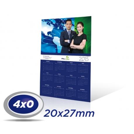 500 Calendários de Parede 20 x 27cm COUCHE 300g UV Total Frente com furo - 4x0 cor Produção 3 dias