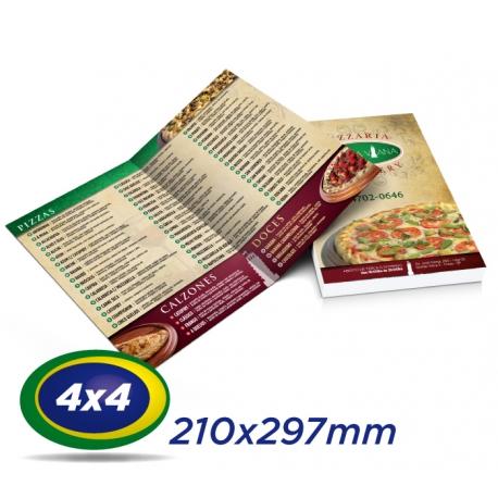 25 Cardápios 21x29,7cm Couche 300g 4x4 cor - Laminação Fosca - 1 Vinco - Produção 4 dias