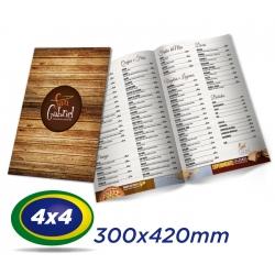 25 Cardápios 30x42cm Couche 300g 4x4 cor - Laminação Fosca - 1 Vinco - Produção 4 dias