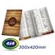 100 Cardápios 30x42cm Couche 300g 4x4 cor - Laminação Fosca - 1 Vinco - Produção 4 dias