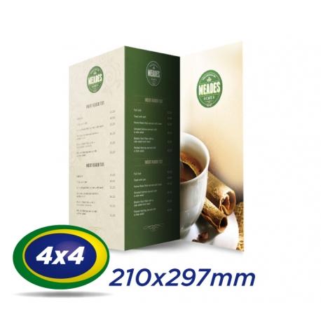 50 Cardápios 21x29,7cm Couche 300g 4x4 cor - Laminação Fosca - 2 VINCOS - Produção 4 dias