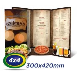 100 Cardapios 30x42cm Couche 300g 4x4 cor - Laminação Fosca - 2 VINCOS - Produção 4 dias