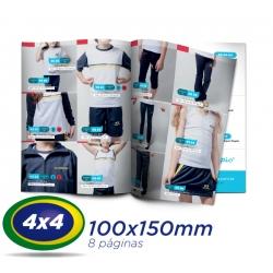 500 Catalogos 10x15cm 8 Pág. COUCHE 115g 4x4 cor - 1 Dobra Central - 2 Grampos- Produção 7 dias