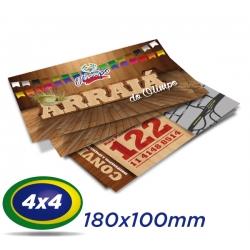 100 Convites 10x18cm Couche 250g - 4x4 cor - Verniz UV total frente - Produção 2 dias