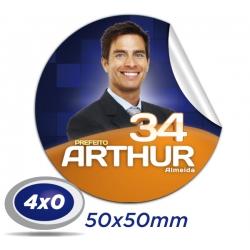 1.000 Praguinhas 5x5cm Papel Adesivo 4x0 cor Meio Corte e Corte Faca  - Produção 2 dias