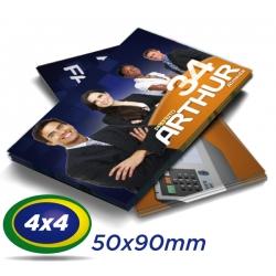 10.000 Cartões de Visita 5x9cm Couche 240g 4x4 cor - Verniz UV Total Frente - Produção 2 dias úteis