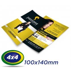 10.000 Folhetos 10x14cm Couche 90g 4x4 cor - Produção 2 dias úteis