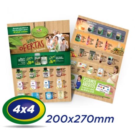 10.000 Folhetos 20x27cm Couche 90g 4x4 cor - Produção 2 dias