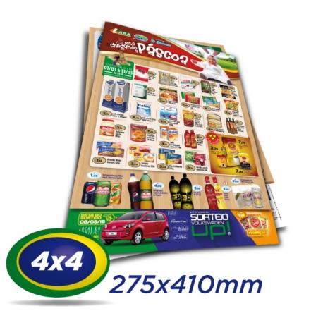 5000 Folhetos 27,5x41cm Couche 90g 4x4 cor - Produção 2 dias