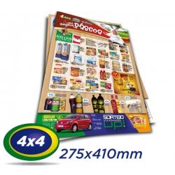 10.000 Folhetos 27,5x41cm Couche 90g 4x4 cor - Produção 2 dias