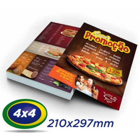 5000 Folhetos 21x29,7cm Couche 120g 4x4 cor - Produção 2 dias úteis