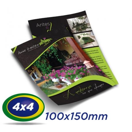 5000 Folders 10x15cm Couche 150g 4x4 cor - Produção 2 dias úteis