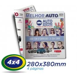 10.000 Jornais 28x38cm 4 Pág. Papel JORNAL 49g 4x4 cor 1 Dobra - Produção 1 dia