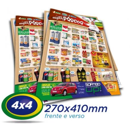 50.000 Panfletos 27x41cm Papel LWC 60g 4x4 - Produção 1 dia