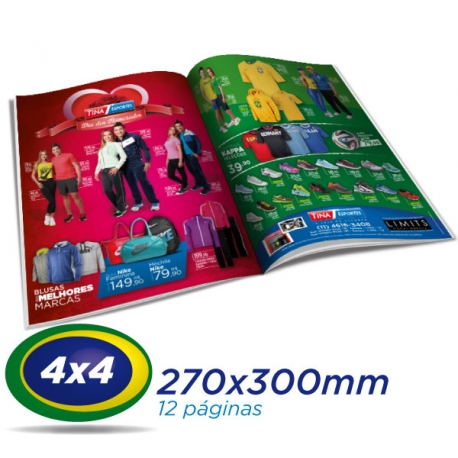 5.000 Tablóides 27x30cm 12 Pág. Papel LWC 60g 4x4 cor 1 Dobra - Produção 1 dia