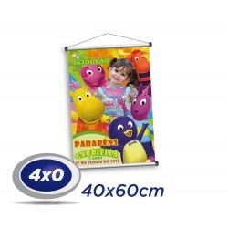 1 Banner 40x60cm Lona 340g 4x0 cor - Produção 2 dias