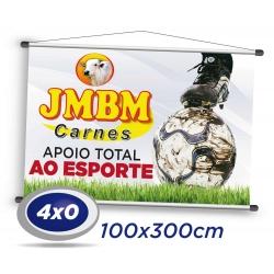 1 Banner 300x100cm Lona 340g 4x0 cor - Produção 2 dias