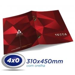 100 Pastas com Orelha 31x45cm Couche 250g 4x0 cor Verniz UV Total Frente - Produção 3 dias